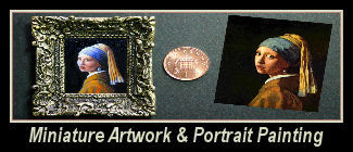 Miniature portrait painting and small sized hand painted art work dolls house pictures.
